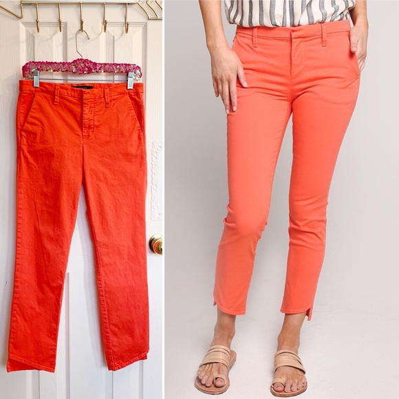 J Brand Pants - J Brand Hot Coral Clara Trousers Asymmetrical Hem